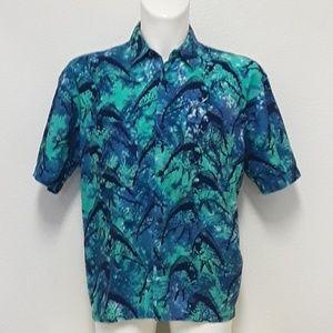 Rum Reggae Mens Mahi Mahi Tie Dye Hawaiian Shirt